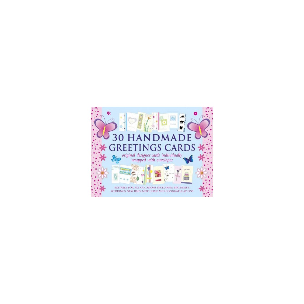 30 Handmade Greetings Cards Blue/Pink Box : Original Designer Cards Individually Wrapped With Envelopes A gorgeous great-value set of decorated and embellished cards, suitable for all kinds of occasions.