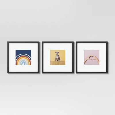 """14.5"""" x 14.5"""" Matted to 8"""" x 8"""" 3pc MDF Paper Wrap Gallery Frame Set Black - Room Essentials™"""