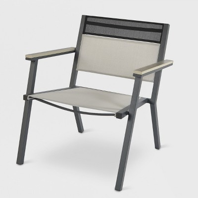 Split Sling Patio Stack Chair Gray - Project 62™