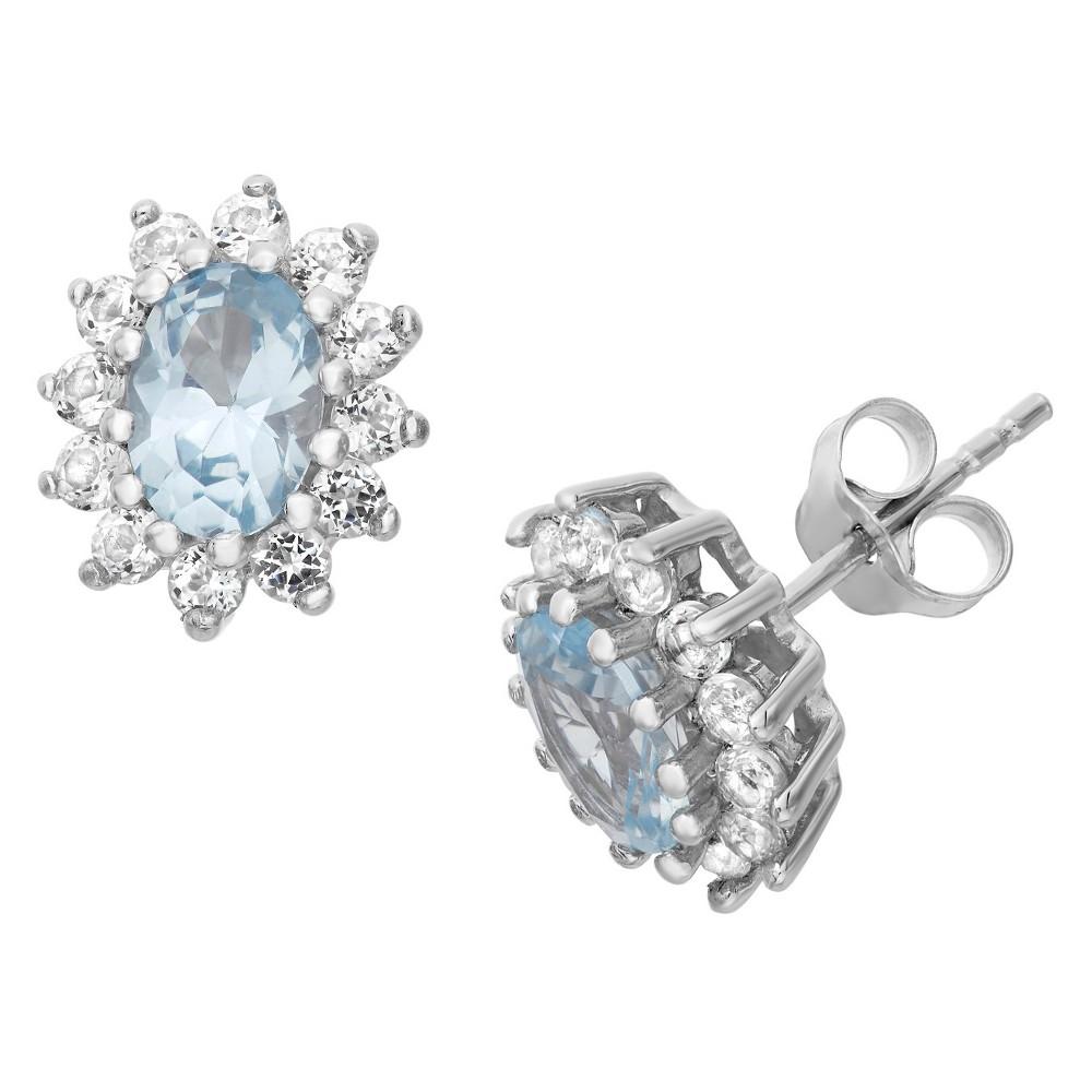 Sterling Silver Oval Cut London Blue Topaz Flower Stud Earrings