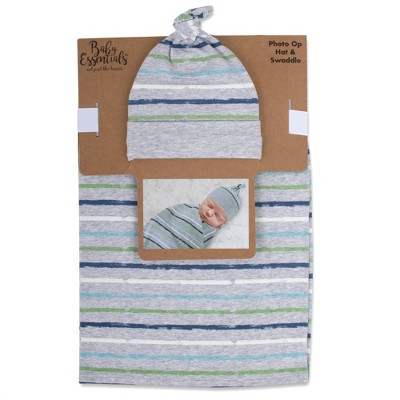 Baby Essentials Striped Swaddle and Knot Cap - Gray