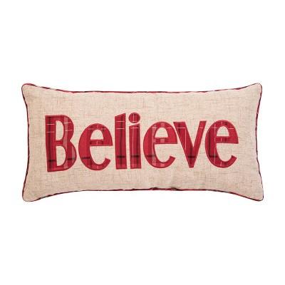 """C&F Home 12"""" x 24"""" Believe Plaid Applique Pillow"""