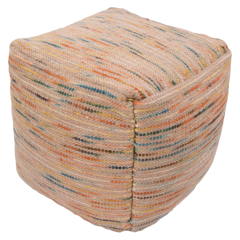 Orange Alma Pouf - Jaipur