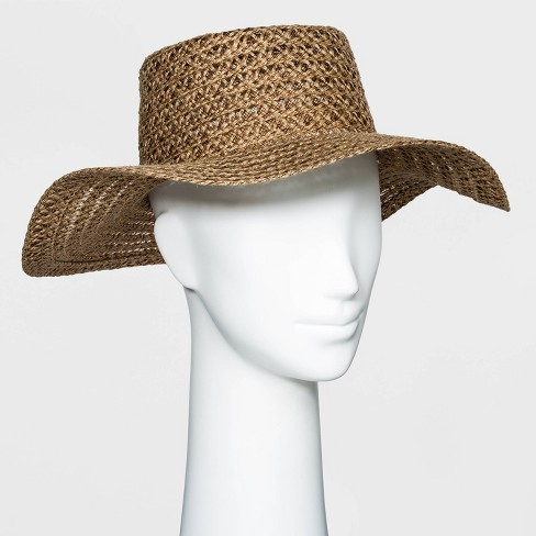 Women's Packable Braided Jute Boater Hat - Universal Thread™ Brown - image 1 of 1