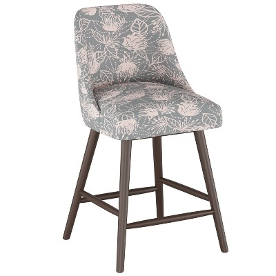 "27"" Geller Modern Counter Height Barstool Sketch Floral Gray Pink - Project 62™"