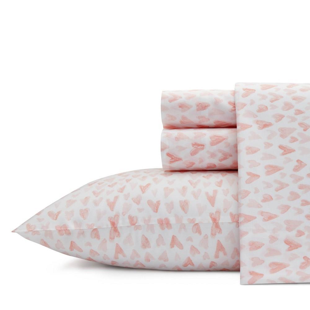 Image of Full 100% Cotton Printed Pattern Sheet Set Pink Hearts - Ivory Ella