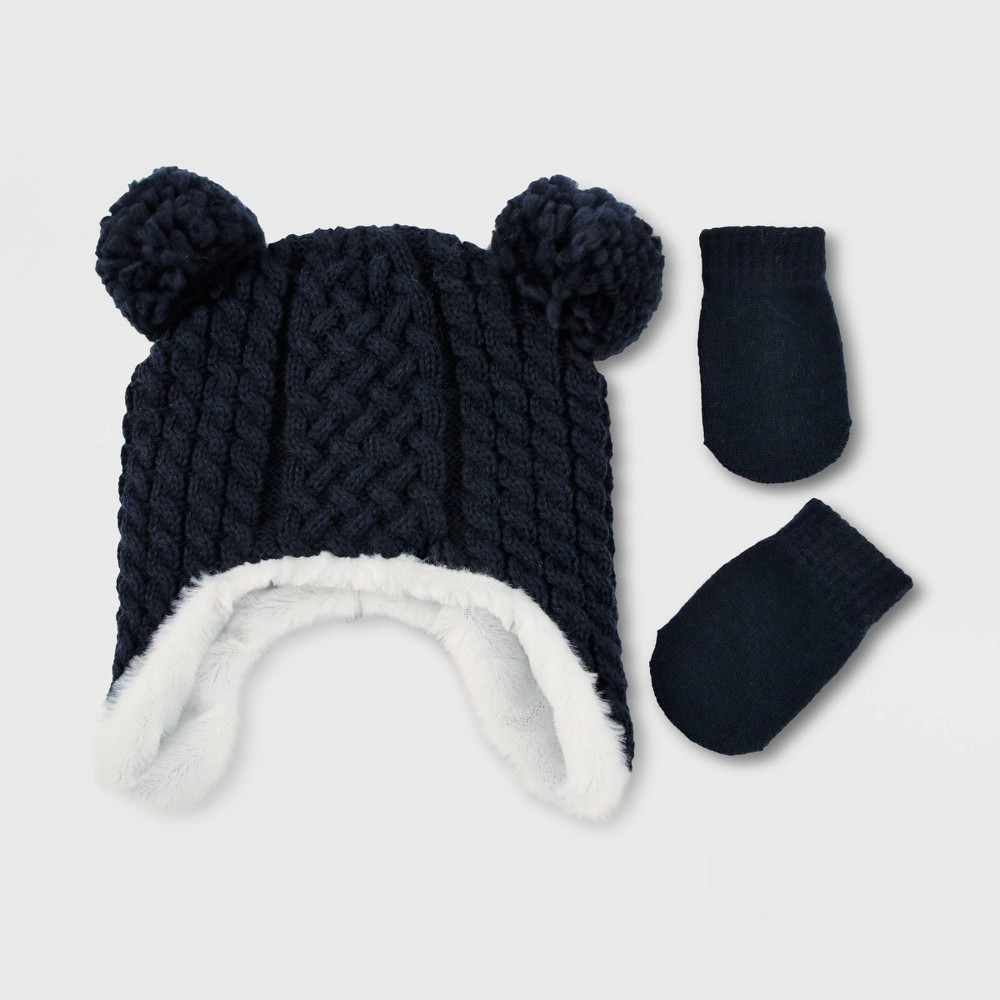 Image of Baby Boys' Hat And Glove Set - Cat & Jack Blue 0-6M, Toddler Girl's