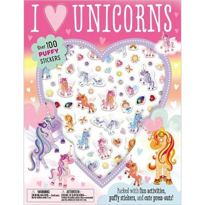 Puffy Stickers I Love Unicorns - by  Make Believe Ideas Ltd (Paperback)