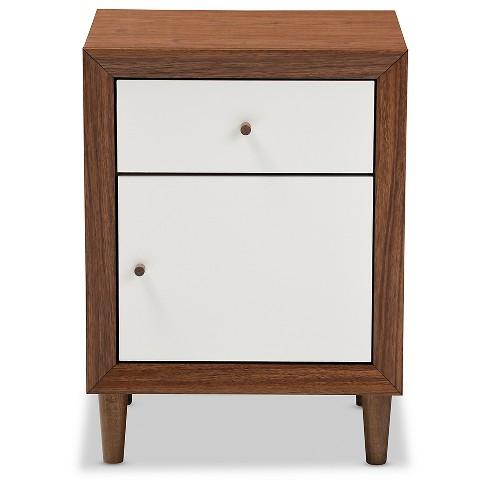 Harlow Mid Century Modern Scandinavian Style Wood 1 Drawer And 1 Door Nightstand White And Walnut Baxton Studio