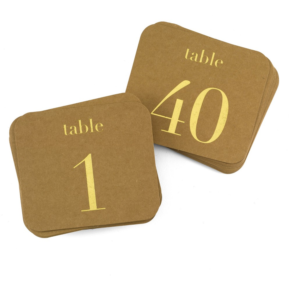 """Image of """"40ct """"""""1-40"""""""" Kraft Table Number Cards Gold"""""""