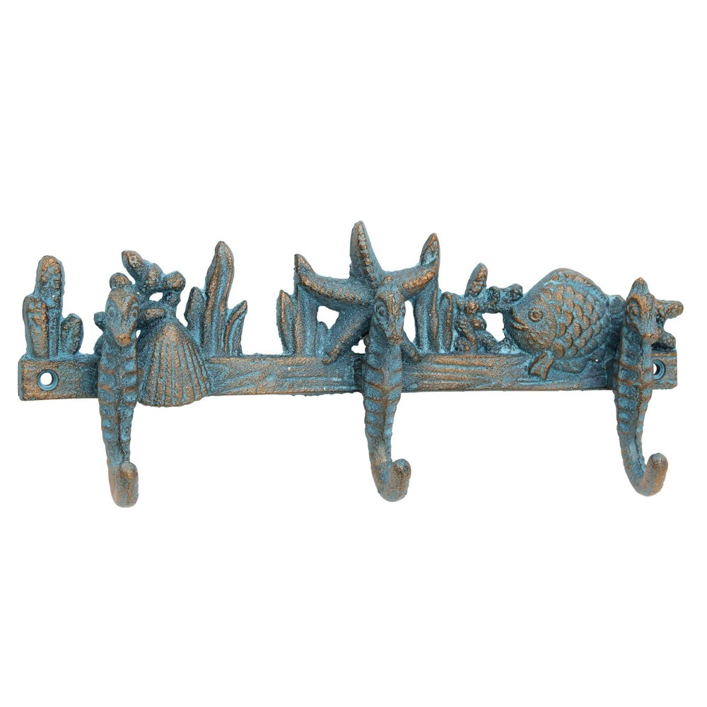 Image of Decorative Cast Iron Seahorse Wall Hook Turquoise - Stonebriar Collection