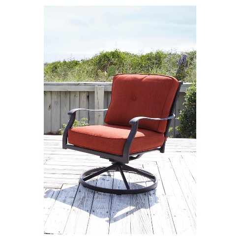 Burnella 2pk Metal Patio Swivel Accent Chairs Orange Brown Outdoor By Ashley Target