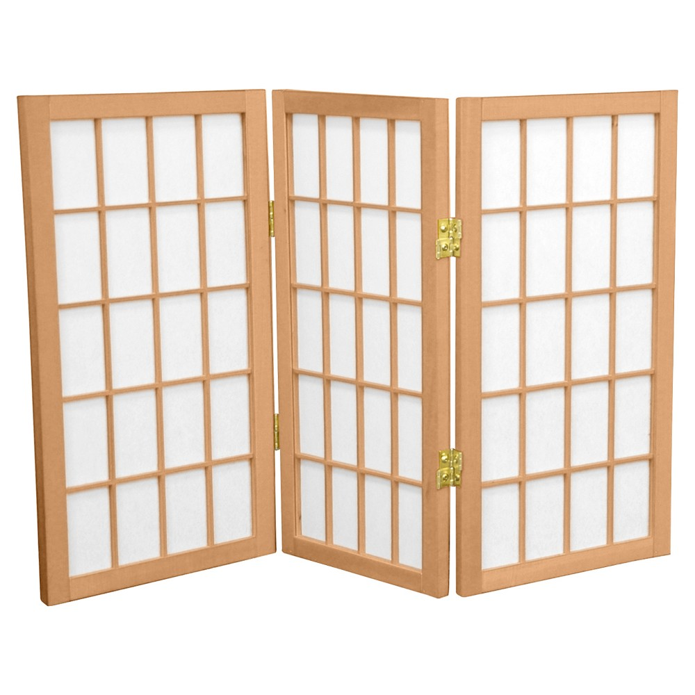 2 ft. Tall Desktop Window Pane Shoji Screen - Natural (3 Panels) - Oriental Furniture, Neutral
