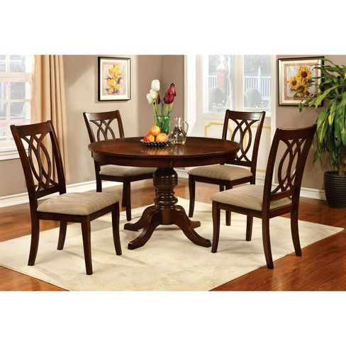 5 Pieces Martens Dining Table Set Wood/Canyon Brown - Furniture of America - image 1 of 3