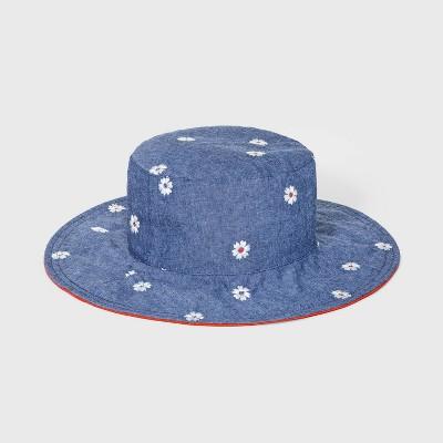 Toddler Girls' Reversible Floral Hat - Cat & Jack™ Blue