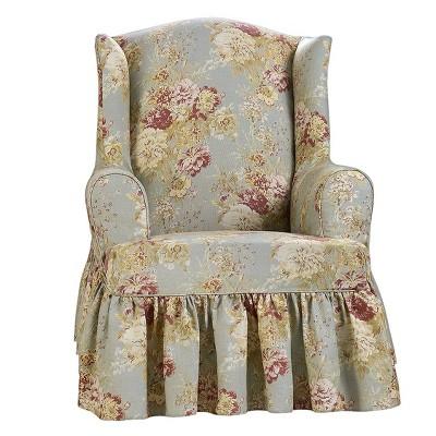 Miraculous Ballad Bouquet Wing Chair Slipcover Waverly Machost Co Dining Chair Design Ideas Machostcouk
