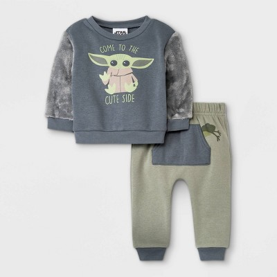 Baby Boys' 2pc Star Wars Baby Yoda Fur-Backed Fleece Pullover and Jogger Set - Olive Green