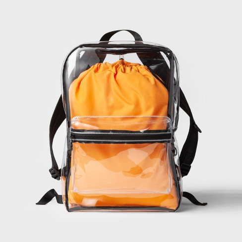 Men's Clear Vinyl Backpack - Original Use™ Orange One Size - image 1 of 4