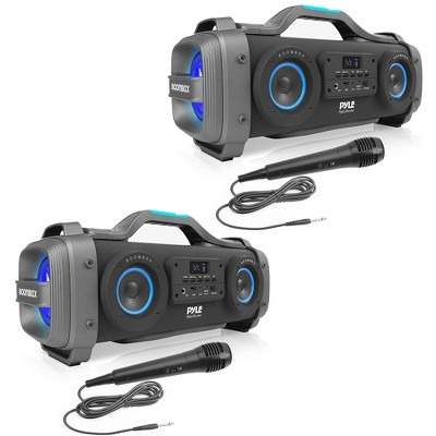 Pyle PBMSPG148 800 Watt Bluetooth Portable Boombox Karaoke Speaker System with DJ Flashing Party Lights and Handheld Microphone (2 Pack)