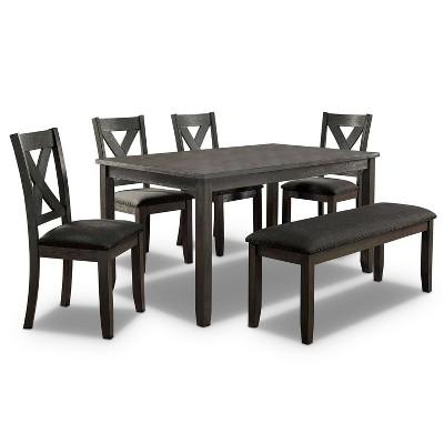 6pc Larkridge Transitional Dining Set Gray/Dark Gray - HOMES: Inside + Out