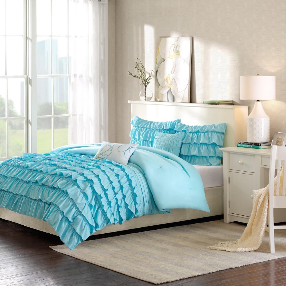 Blue Marley Ruffle Comforter Set Twin 5p