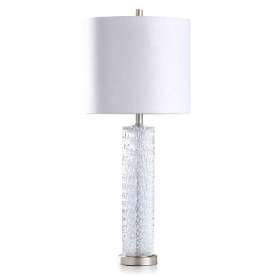 Diamond Textured Glass Table Lamp with Brushed Steel Base Gray - StyleCraft