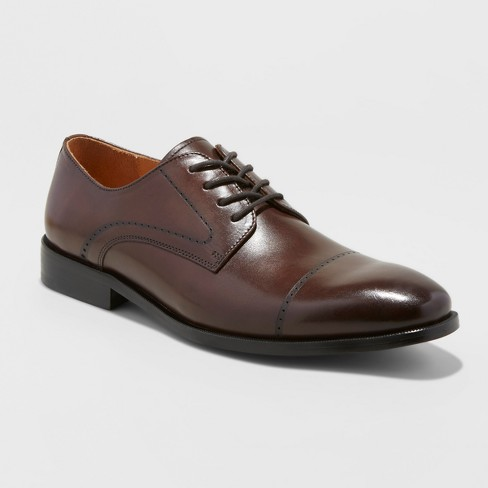 Men's Leather Oxford Dress Shoes - Goodfellow & Co™ Brown - image 1 of 3