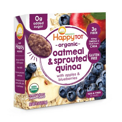HappyTot Organic Oatmeal & Sprouted Quinoa with Apples & Blueberries Baby Food - 4.5oz