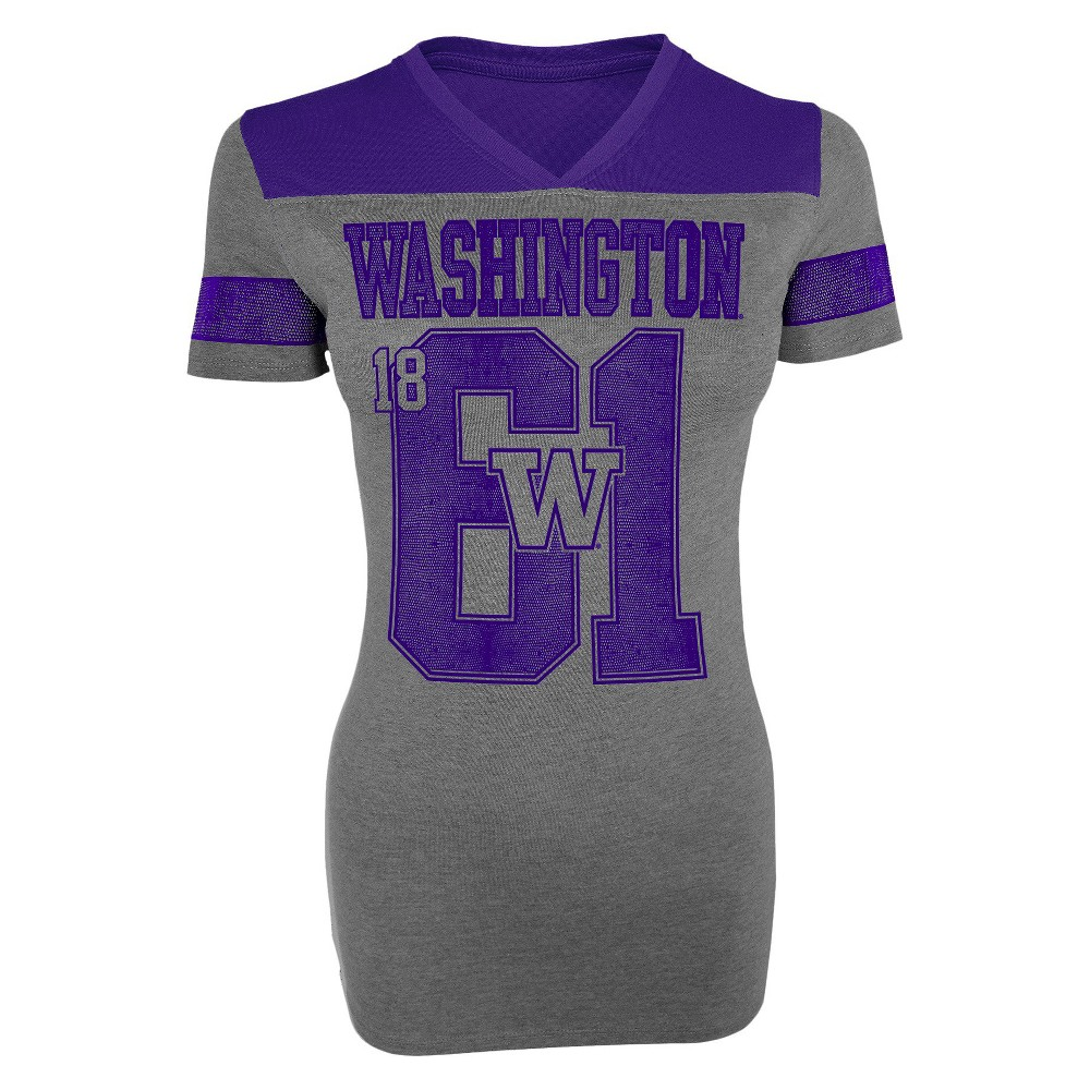 Washington Huskies Women's V-Neck T-Shirt Gray S, Multicolored