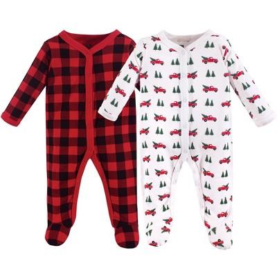 Hudson Baby Baby Cotton Snap Sleep and Play 2pk, Christmas Tree