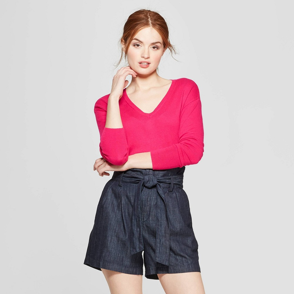 Women's V-Neck Luxe Pullover Sweater - A New Day Dark Pink L, Red