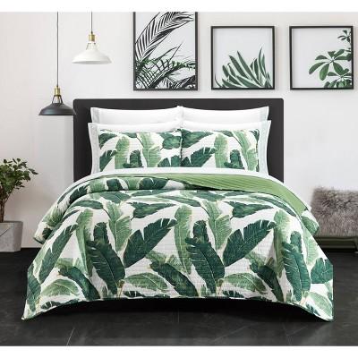 9pc California King Borrego Palm Quilt Set Green - Chic Home Design