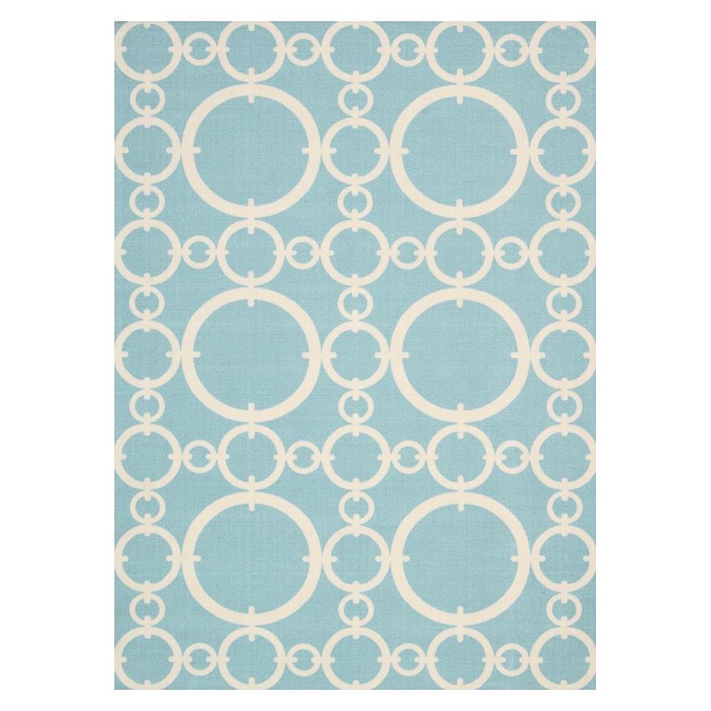 Waverly Rings Indooroutdoor Rug Aqua Blue 10x13