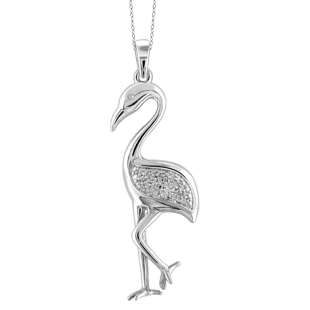 Women's Sterling Silver Accent Round-Cut White Diamond Pave Set Crane Pendant - White (18)