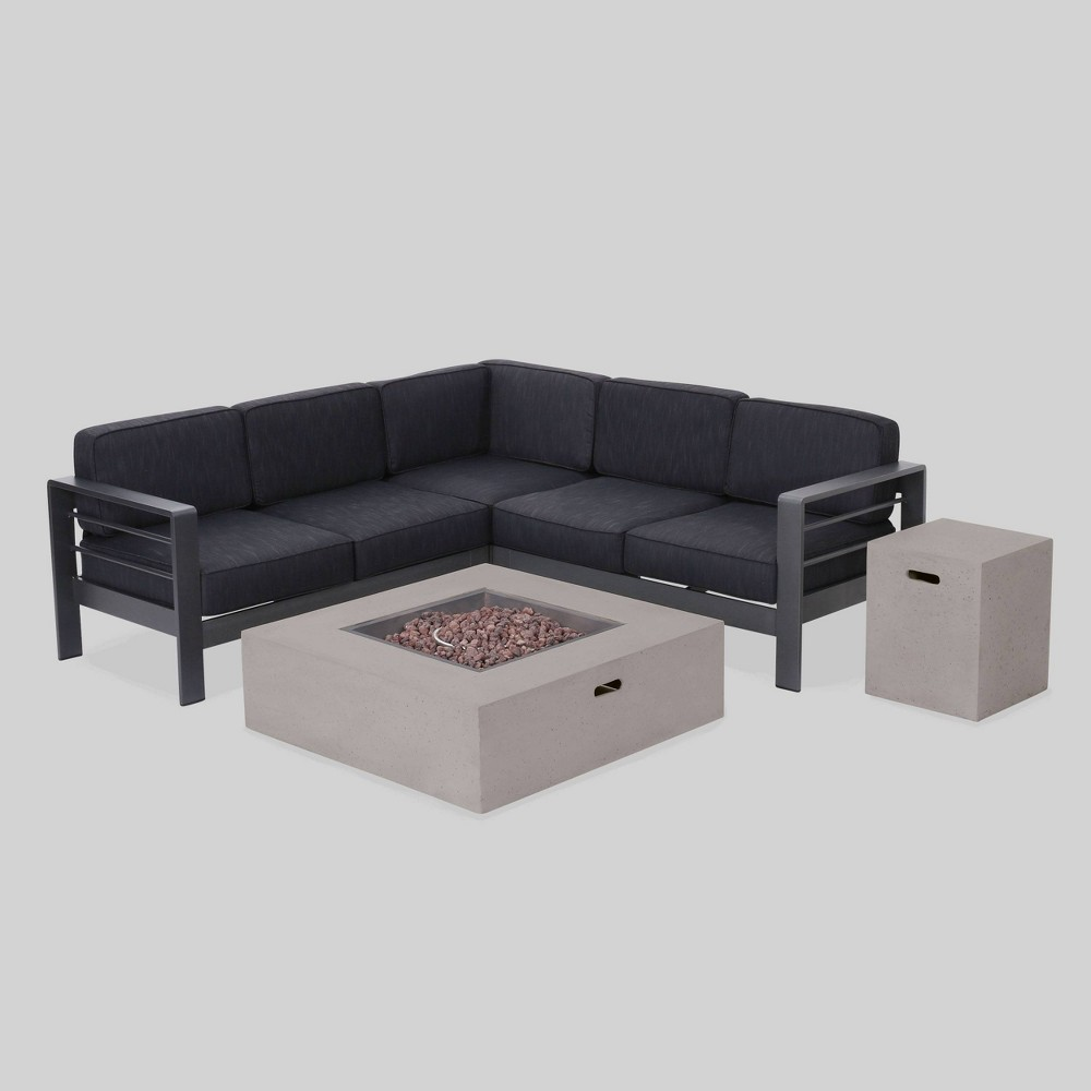 Cape Coral 5pc V-Shaped Sofa & Fire Table Set - Gray/Dark Gray - Christopher Knight Home