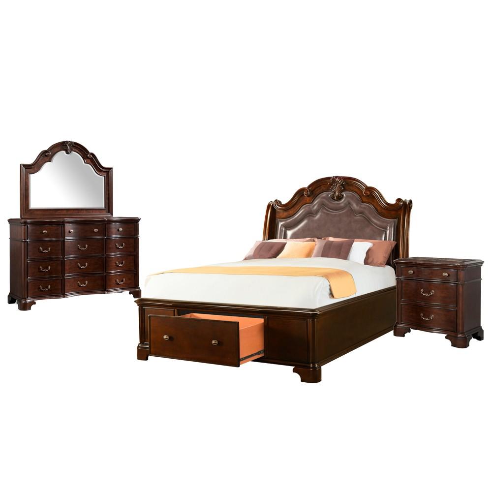 4pc Tomlyn Queen Storage Bedroom Set Dark Cherry - Picket House Furnishings, Beige