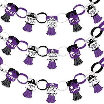 Big Dot of Happiness Purple Grad - Best is Yet to Come - 90 Chain Links and 30 Paper Tassels Decor Kit- 2021 Grad Party Paper Chains Garland - 21 feet