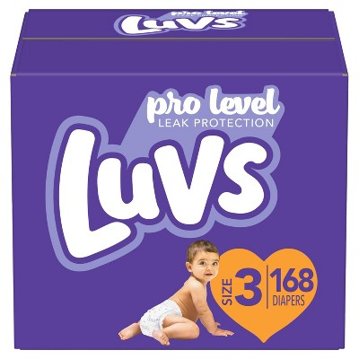 Luvs Pro Level Leak Protection Diapers Giant Pack - Size 3 - 168ct