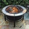 Terni Round Ceramic Top Fire Pit - Slate Gray - Leisurelife - image 2 of 4