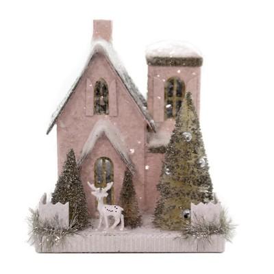 "Cody Foster 7.5"" Petite Pink House Putz Christmas Reindeer Retro  -  Decorative Figurines"