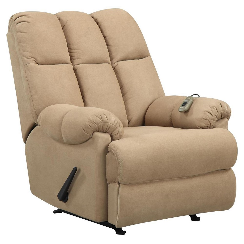 Padded Massage Recliner with Controller - Tan - Dorel Living