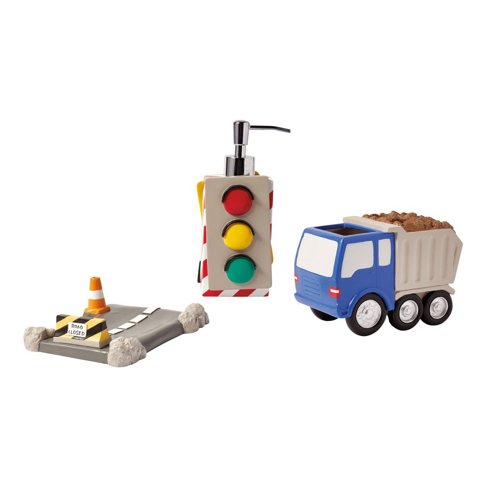 Image of 3pc Trains and Trucks Bath Accessories - Dream Factory, Gray