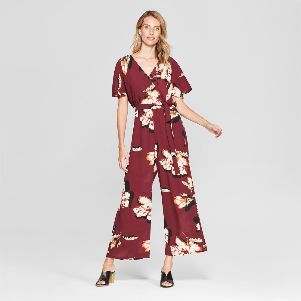 Women's Floral Print Dolman Sleeve Jumpsuit - Lux II - Burgundy 10, Red