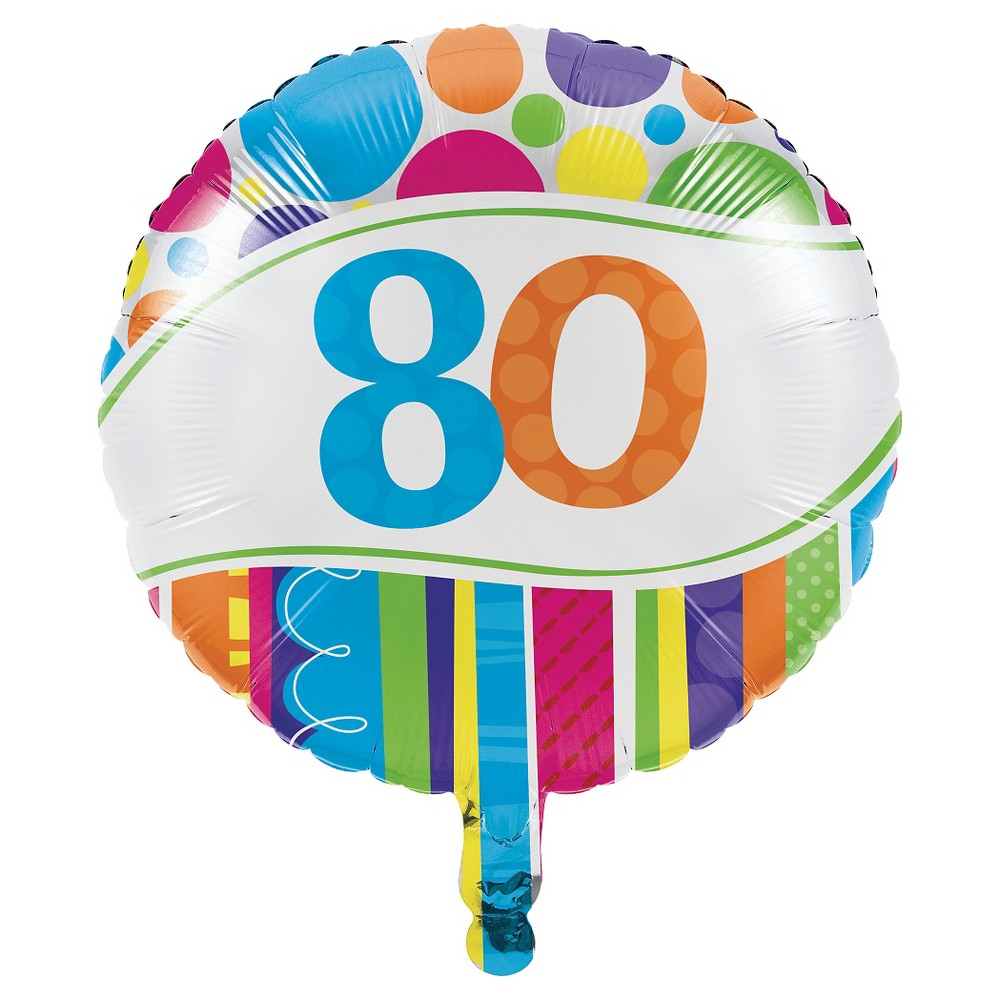 Bright And Bold 80th Birthday Mylar Balloon