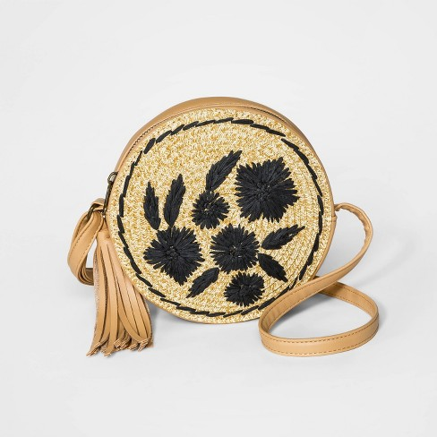Girls' Straw Circle Crossbody Bag - art class™ Brown - image 1 of 1