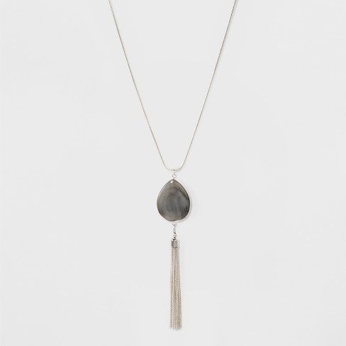 Tear Drop Chanel Long Necklace - A New Day™ Silver - image 1 of 3