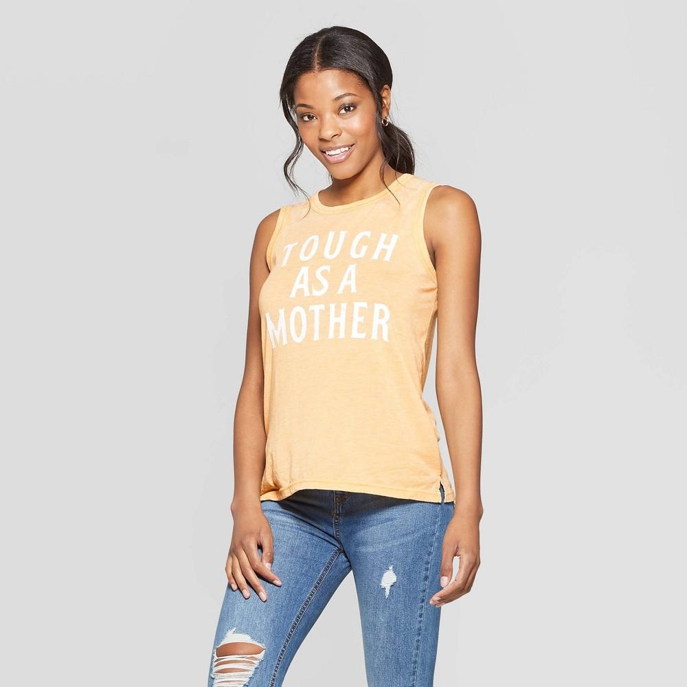 Women's Short Sleeve Tough as a Mother Scoop Neck Tank Top - Grayson Threads (Juniors') - Yellow L