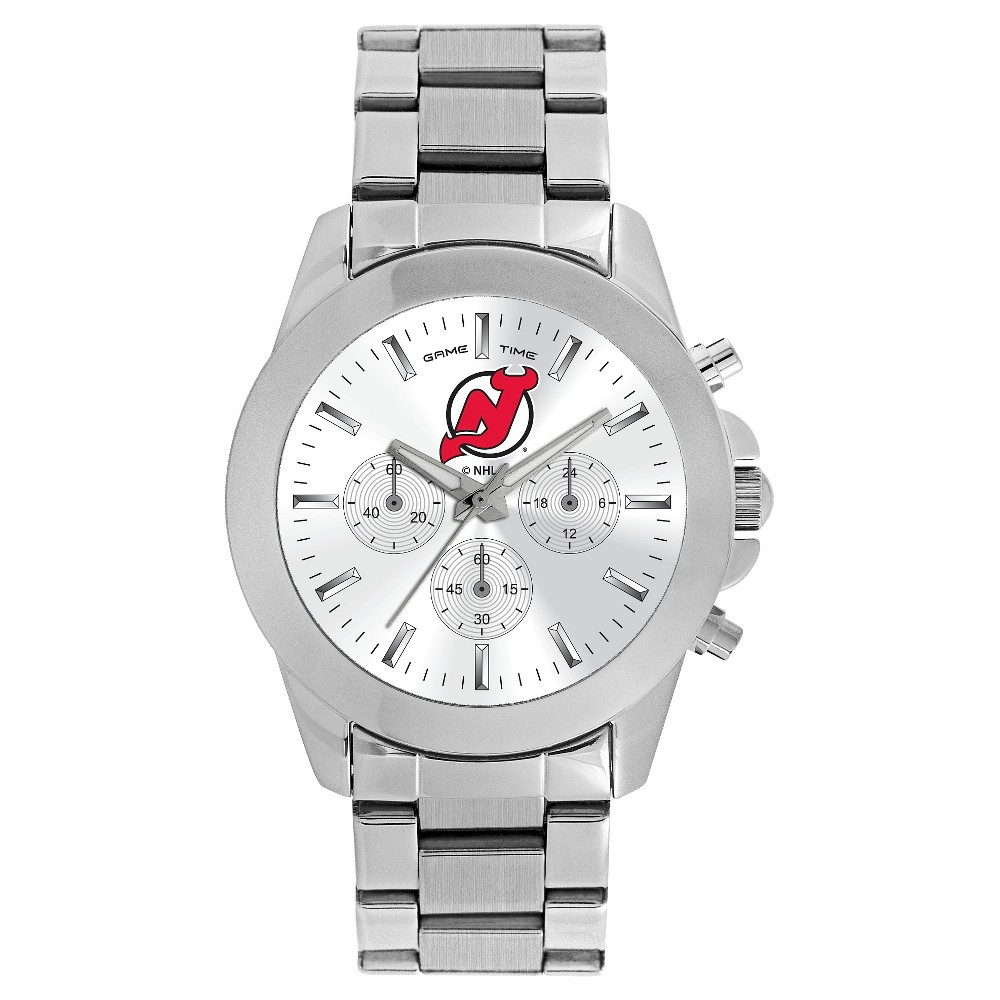 Women's Game Time NHL Knockout Sports Watch - Silver - New Jersey Devils