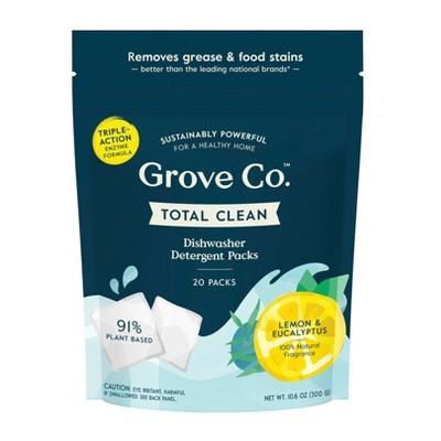 Grove Co. Total Clean Dishwasher Detergent Packs - Lemon & Eucalyptus - 20ct