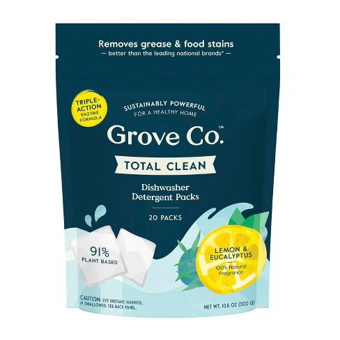 Grove Co. Total Clean Dishwasher Detergent Packs - Lemon & Eucalyptus - 20ct - image 1 of 4